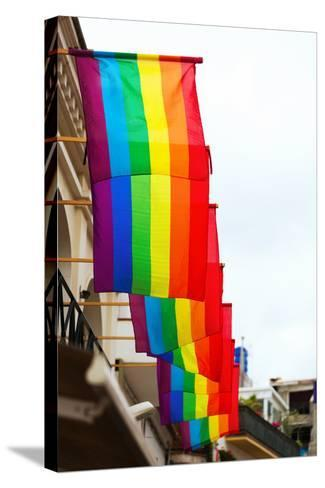 Rainbow Flags on Houses-JackF-Stretched Canvas Print