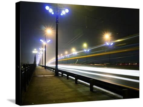 Stone Bridge Lights in Fog ,Riga- dolfvik-Stretched Canvas Print