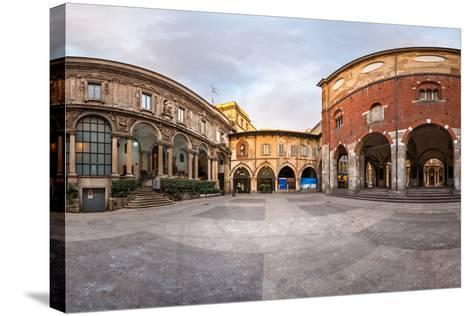 Panorama of Palazzo Della Ragione and Piazza Dei Mercanti in the Morning, Milan, Italy-anshar-Stretched Canvas Print