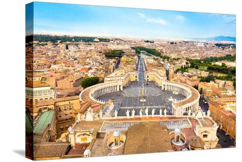 Saint Peter's Square in Vatican, Rome, Italy.-kasto-Stretched Canvas Print