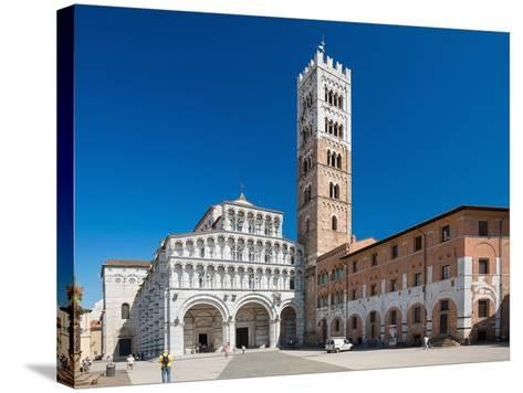 Lucca, ITALY - June 30: Tourists at Church San Martino in Lucca Italy.People Wait outside the Churc-Petr Jilek-Stretched Canvas Print