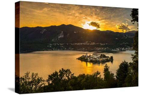 San Giulio Island Sunset Hdr Version-Robik70-Stretched Canvas Print