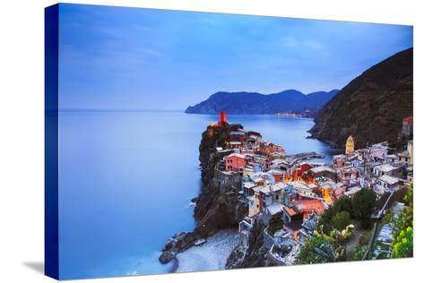 Vernazza Village, Aerial View on Sunset. Cinque Terre, Ligury, Italy-stevanzz-Stretched Canvas Print