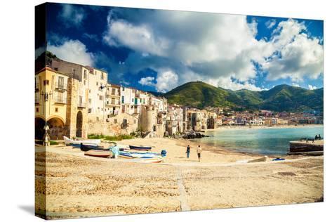 Empty Old Beach of Cefalu, Sicily-anita_bonita-Stretched Canvas Print