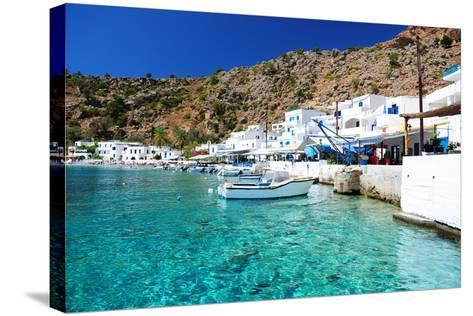 Greek Coastline Village of Loutro in Southern Crete- singidavar-Stretched Canvas Print