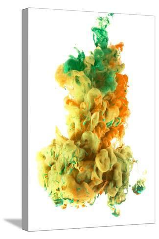 Ink Color Drop, Yellow Orange Green-sanjanjam-Stretched Canvas Print