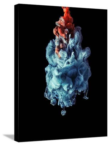 Blua and Red Color Drop in the Dark-sanjanjam-Stretched Canvas Print