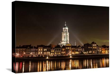 Deventer at Night View from the Other Side of the Ijssel- erpeewee-Stretched Canvas Print
