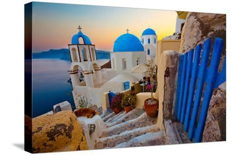 Santorini Sunset Pathway View-EvanTravels-Stretched Canvas Print