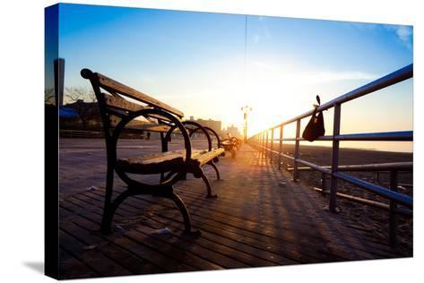 Bench on Coney Island Boardwalk-EvanTravels-Stretched Canvas Print