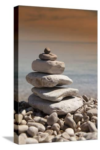 Stack of Stones, Zen Concept, on Sandy Beach-perfectmatch-Stretched Canvas Print
