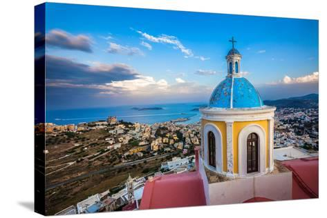 View from Basilica San Giorgio - Ano Syros, Greece-EvanTravels-Stretched Canvas Print