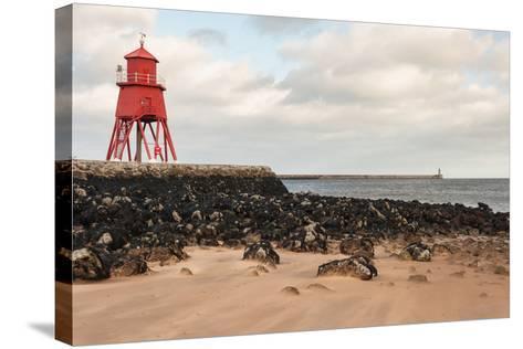 Herd Groyne Lighthouse in South Shields-Patrik Stedrak-Stretched Canvas Print