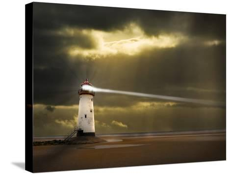 Lighthouse in a Storm with Beam Shining to Sea- meirion-Stretched Canvas Print