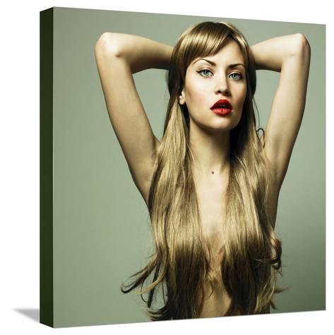 Beautiful Woman with Green Eyes-George Mayer-Stretched Canvas Print