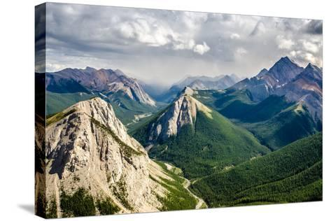 Mountain Range Landscape View in Jasper Np, Canada-MartinM303-Stretched Canvas Print