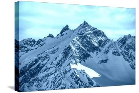 Snowy Blue Mountains in Clouds-Vakhrushev Pavel-Stretched Canvas Print