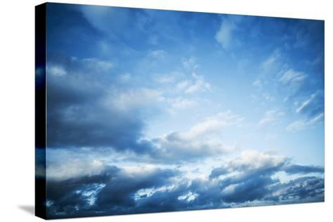 Dark Blue Sky with Clouds, Abstract Photo Background-Eugene Sergeev-Stretched Canvas Print