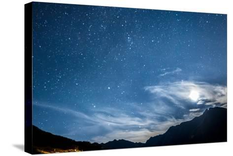 Night Sky Stars and Moon across Mountain-gianni triggiani-Stretched Canvas Print