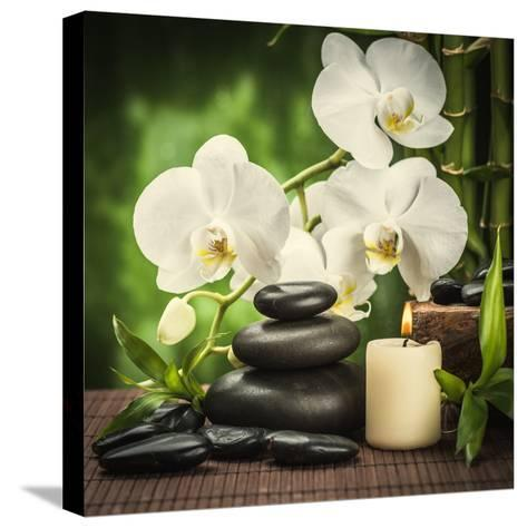 Spa Concept with Zen Basalt Stones and Orchid-scorpp-Stretched Canvas Print