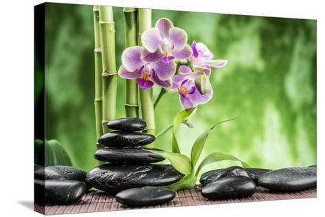 Spa Concept with Zen Basalt Stones ,Orchid and Bamboo-scorpp-Stretched Canvas Print