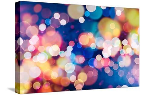 Festive Background with Natural Bokeh and Bright Golden Lights. Vintage Magic Background with Color-Maximusnd-Stretched Canvas Print