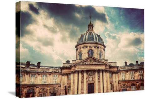 Institut De France in Paris. Famous Cupola, Dome of the Building against Clouds.-Michal Bednarek-Stretched Canvas Print