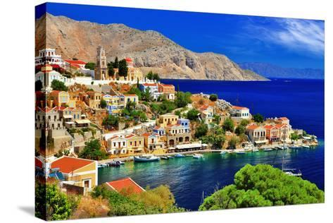 Wonderful Greece. Symi Island , Dodecanese-Freesurf-Stretched Canvas Print