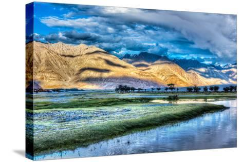 Nubra River in Nubra Valley in Himalayas-f9photos-Stretched Canvas Print