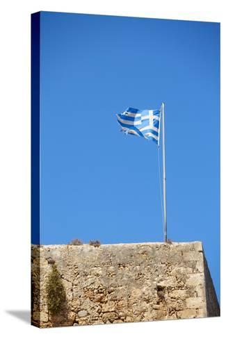 Fluttering Greek Flag-Dmitry Naumov-Stretched Canvas Print