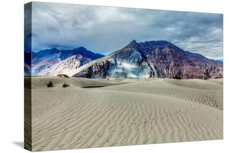Sand Dunes in Himalayas. Hunder, Nubra Valley, Ladakh-f9photos-Stretched Canvas Print