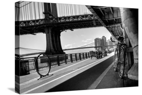 Manhattan Waterfront Bike Path B&W-EvanTravels-Stretched Canvas Print