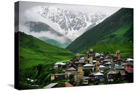 Ushguli Village with Shkhara Mountain in the Background-roibu-Stretched Canvas Print