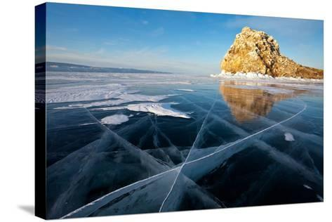 Baikal. Edor Island. Winter Travel on Ice-katvic-Stretched Canvas Print