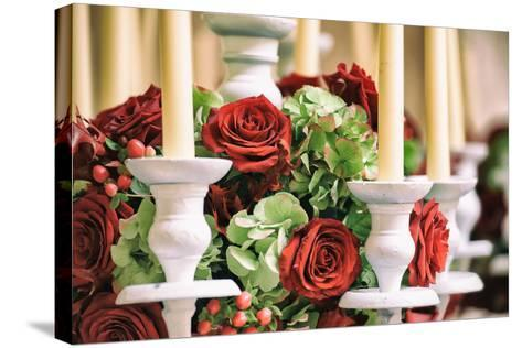 Roses and Candles Decoration-stefano pellicciari-Stretched Canvas Print