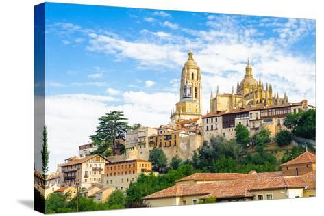 Old Town of Segovia and its Aqueduct. UNESCO World Heritage-siempreverde22-Stretched Canvas Print