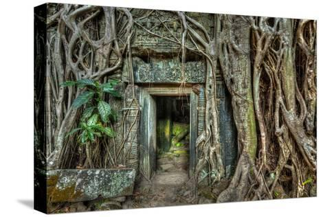 Ancient Stone Door and Tree Roots, Ta Prohm Temple, Angkor, Camb-f9photos-Stretched Canvas Print