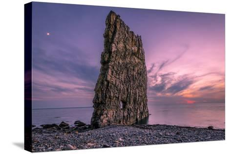 Amazing Sunset near Sail Rock in Russia-mkolesnikov85-Stretched Canvas Print