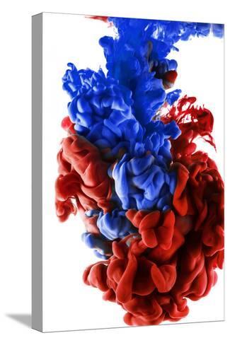 Ink Color Drop, Dark Blue and Red-sanjanjam-Stretched Canvas Print
