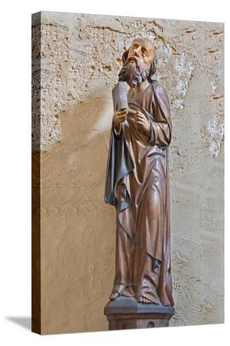 The Gothic Carved Satue of Apostle Matthew-Ren?ta Sedm?kov?-Stretched Canvas Print