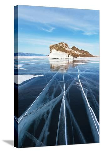Baikal in February. the Cracks on Smooth Blue Ice-katvic-Stretched Canvas Print