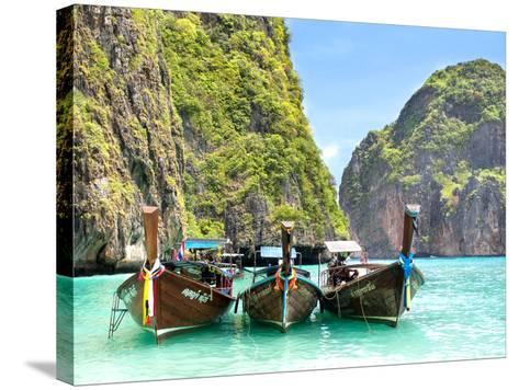 Longtail Boats in Maya Bay, Ko Phi Phi, Thailand-R.M. Nunes-Stretched Canvas Print