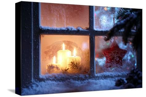 Frosted Window with Christmas Decoration-Sofiaworld-Stretched Canvas Print