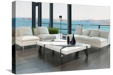 Luxury Living Room Interior with White Couch and Seascape View-PlusONE-Stretched Canvas Print