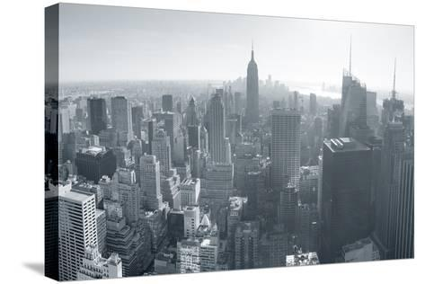New York City Skyline Black and White in Midtown Manhattan Aerial Panorama View in the Day.-Songquan Deng-Stretched Canvas Print