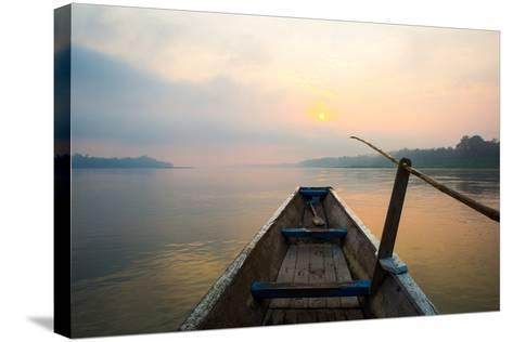 Morning of the Lake with  the Boat-jannoon028-Stretched Canvas Print