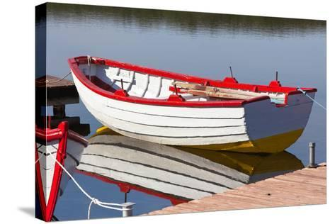 Floating Wooden Boat with Reflection-topdeq-Stretched Canvas Print