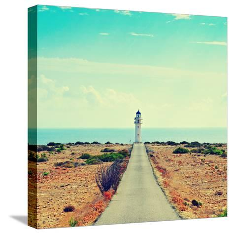 View of Beacon Far De Barbaria in Formentera, Balearic Islands, Spain, with a Retro Effect-nito-Stretched Canvas Print