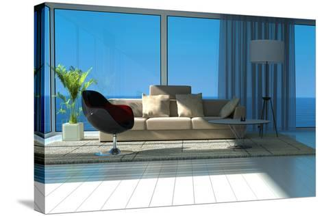 A Sunny Living Room with Large Windows-PlusONE-Stretched Canvas Print