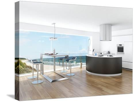 Modern Luxury Kitchen Interior with Fantastic Seascape View-PlusONE-Stretched Canvas Print